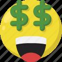 emoji, emoticon, feelings, happy, money, rich, smileys
