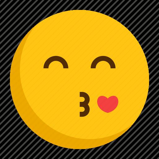 emoji, emoticon, kiss, love icon