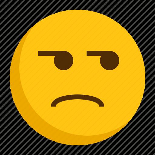angry, bored, emoji, emoticon icon