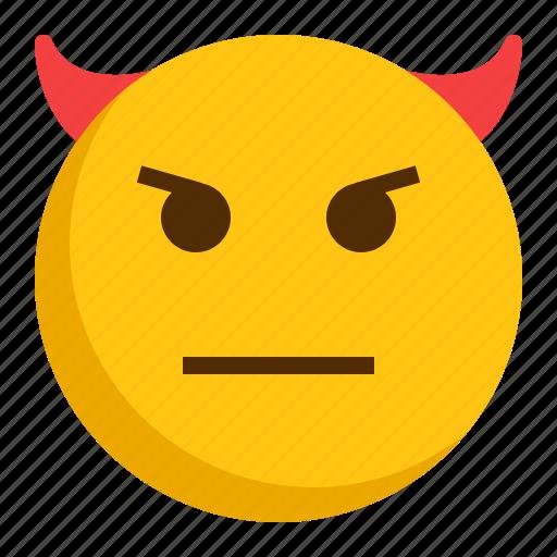 devil, emoji, emoticon, mad icon