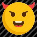 devil, emoji, emoticon, happy, smiley