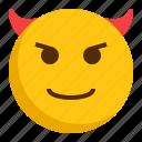 devil, emoji, emoticon, mad, smile