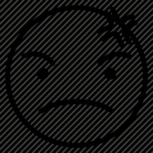 angry, bad, emoji, emoticon, mean icon