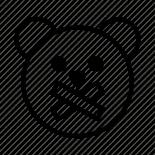 bear, calm, emoji, gomti, line, quiet, silence icon