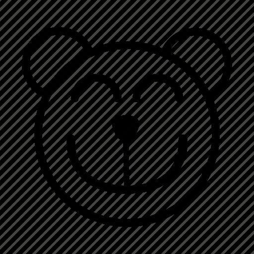bear, big smile, emoji, gomti, good, happy, smile icon
