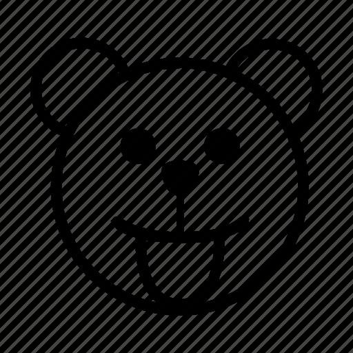 bear, emoji, gomti, smiley, tongue out icon