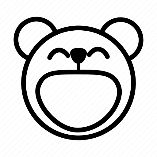 bear, big smile, emoji, gomti, happy, laugh, laughing icon