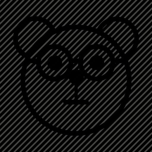 bear, emoji, glasses, gomti, nerd icon