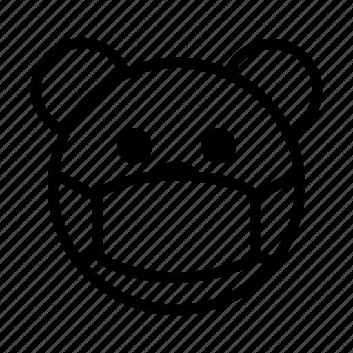 bear, calm, emoji, gomti, mask, quiet, silence icon