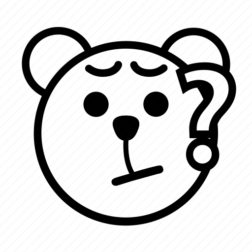 bear, curious, emoji, gomti, mysterious, question, unaccountable icon
