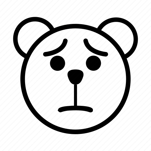 bear, emoji, gomti, sad, uncomfortable icon
