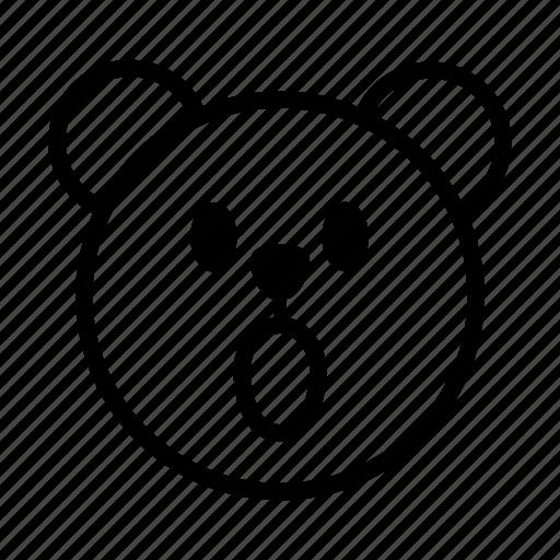 bear, emoji, gomti, line, surprised icon