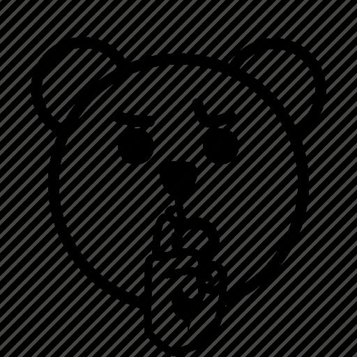 bear, calm, emoji, gomti, line, quiet, shee icon