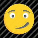 face, emoji, emoticon, smirking, smiley