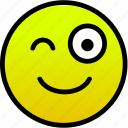 cheerful, smile, wink icon