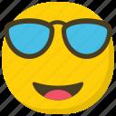 cool emoji, emoticon, happy face, smiley, sunglasses emoji icon