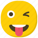 crazy smiley, emoticon, naughty emoji, smiley, tongue out icon