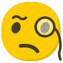 emoticon, expressions, ideogram, monocle emoji, smiley icon