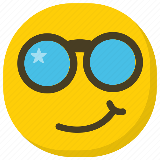 cool emoji, emoticon, happy face, smiley, sunglasses emoji icon