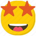 emoticon, excited emoji, expressions, ideogram, smiley, star struck icon