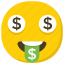 comic face, dollar emoji, dollar eyes, emoji, emoticon icon
