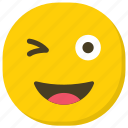 emoticon, facial expressions, naughty face, smiley, winking emoji icon