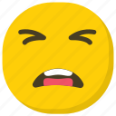 confounded face, emoticon, expressions, hushed face, smiley icon