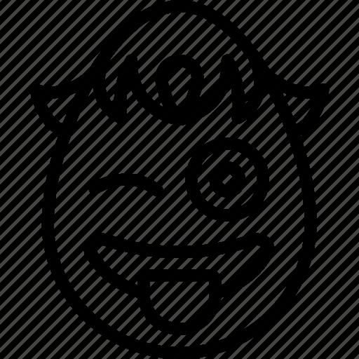 boy, cheeky, emojis, emotion, face, smiley, wink icon