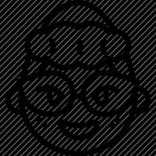 emojis, emotion, face, geek, girl, glasses, smiley icon