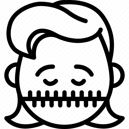 emojis, emotion, face, girl, silent, smiley, zipped icon