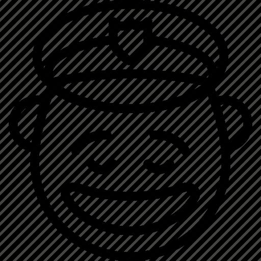 emojis, emotion, face, happy, man, police, smiley icon