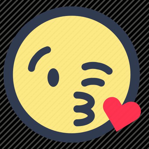 blowing, emoji, kiss, love icon