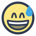 embarassed, emoji, grinning, sweat icon