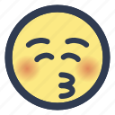 closed, emoji, eyes, kissing icon
