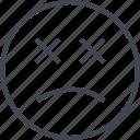 emoji, face, sad, x