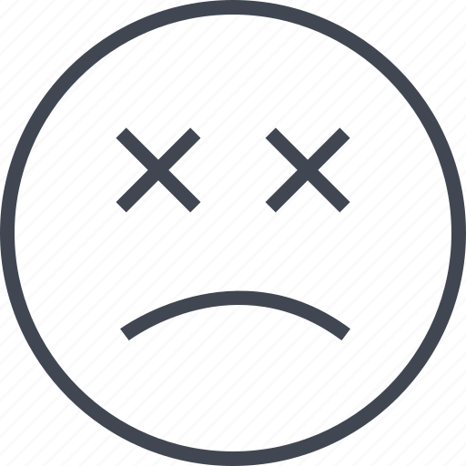 emoji, face, sad, x icon