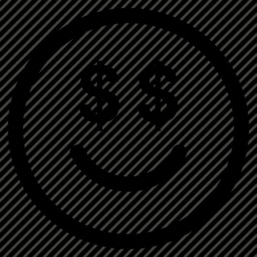 circle, dollar, emoji, emoticon, face, money, round icon