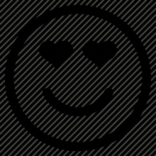 emoji, emoticon, face, heart, in love, love, round icon