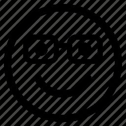 circle, circular, emoji, emoticon, face, glasses, round icon