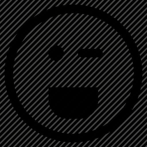 emoji, emoticon, eye, face, round, wink, winking icon