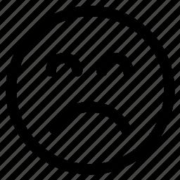 circle, circular, emoji, emoticon, face, sad, unhappy icon