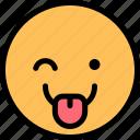 emoji, emoticon, smiley, wink icon