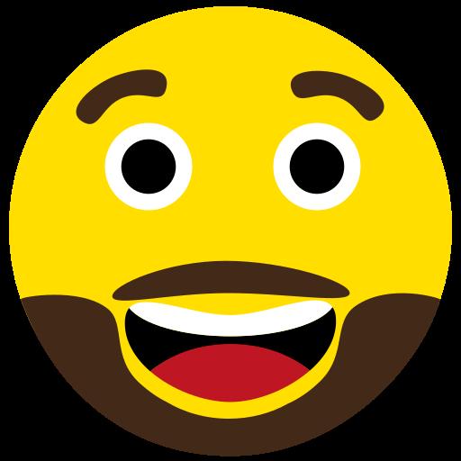 beard, emoji, face, happy icon