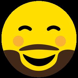 beard, emoji, face, flushed, happy icon