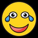 emoji, emoticon, face, happy, laugh, smile, tear