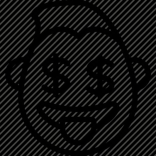 dollar, emojis, emotion, face, guy, money, smiley icon