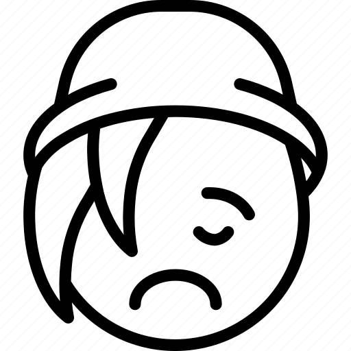 beanie, emojis, emotion, face, frown, sad, smiley icon