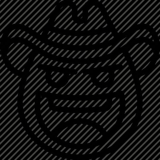 cowboy, emojis, emotion, face, happy, laughing, smiley icon