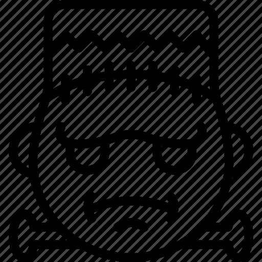 cross, emojis, emotion, face, frankenstein, smiley, zombie icon