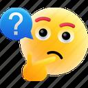 confused, emoji, pondering, question marks, smiley